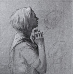Woman-Praying-study-for-via-dolorosa.-1927.-Chalk-drawings-on-paper